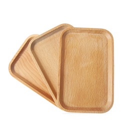 bowl plates Promo Codes - Wooden Plate Dish Square Fruits Platter Dish Dessert Biscuits Plate Dish Tea Server Tray Wood Cup Holder Bowl Pad Tableware Mat VF1574
