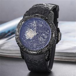 2019 китайские каучуки 50 мм INVICTA мода китайский дракон стиль большой циферблат Мужские кварцевые часы резиновые ремешок на складе Оптовая Бесплатная доставка дешево китайские каучуки