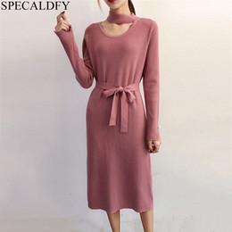 e70f99962b6 Winter Strickkleid Lange Pullover Kleid Frauen Neckholder Elegante Mantel  Herbst Damen Bodycon Kleider Strick Robe Femme