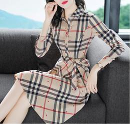 дизайнер платья крышка дизайн Скидка 2019 новый темперамент OL с длинным рукавом платье женщины весна решетка слово платье мода повседневная одежда большого размера женская одежда Vestidos