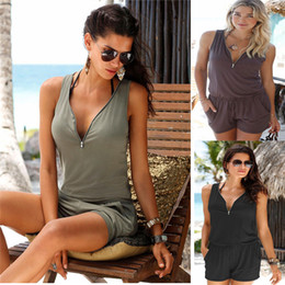 Katı Renk Veck Kısa Tulumlar Bel Kravat Tek Parça Kolsuz Üst Tulum Siyam Pantolon Plaj Yaz Kadın Giyim Bırak gemi 220210 nereden
