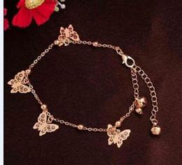 Tobillera de amor de oro online-Pulsera anklet de charm de mariposa para mujer Pulsera de oro y color en una pierna Moda chian Ankle Love Jewelry Pulsera de mariposa tobillera
