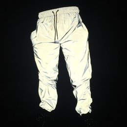 2019 calça de espartilho Mens Refletivo Calças Bf Vento Jogging Calças Hip Hop Primavera Verão Corset Harem Calças Na Moda calça de espartilho barato