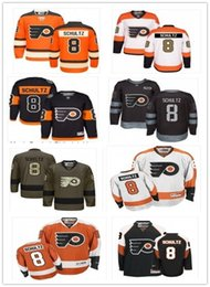 Juego usado camisetas de hockey online-2019 Custom Any Name Number Philadelphia Hockey Jersey Green 8 Dave Schultz Men / WOMEN / YOUTH Flyer Game Worn Hockey Jersey Shirt