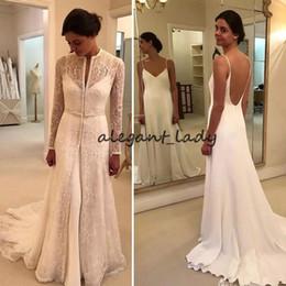4976da9975e5 muslim wedding dress jackets Promo Codes - Lace Stain Mermaid Wedding  Dresses With Long sleeve jacket
