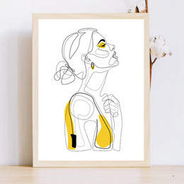 Esboços de fotos on-line-Abstract Prints linha traçada Retrato fêmea Poster Yellow Moda Esboço pintura da lona Minimalista Mulher Art Wall Decor Imagem
