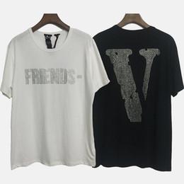 cheques de peixe Desconto Vlone strass t-shirt branco preto amigos manga curta casual tee homens mulheres vlone fragmento design hip hop streetwear cpI0114