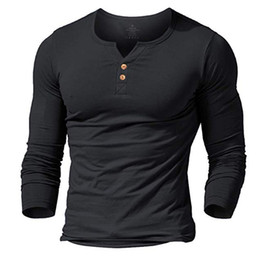 muscle men dresses Coupons - MUSCLE ALIVE men's henley tshirt fitted dress sleeve shirt for men fitted shirts cotton casual bodybuilding fitness t-shirt