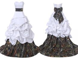 corsé de raso Rebajas Vestidos de boda del vestido de bola del camo de encargo de la alta calidad corsé con los arcos grandes Camuflaje blanco del satén Vestido de novia barato de Novia Vestidos de novia