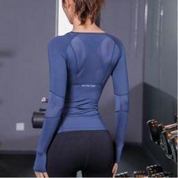 Camisas de manga larga de yoga online-Nuevo diseñador de verano camisetas tops mujeres fitness camiseta mujer manga larga de yoga top mesh para mujer tops deportivos ropa deportiva