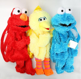 Biscotti di elmo online-45cm Sesame Street Elmo Cookie Series Zaino Borse in peluche Cartoon Peluced School School Backpacks Unisex Nuovo