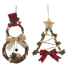 christmas wreaths for door Promo Codes - Christmas Wreath LED Wooden Wreath Pendant LED Light Wood House Door Hanging Christmas Decorations For Home