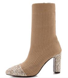 Sapato Feminino Women Boots mid-calf Shoes Woman Square High Heels Pumps  Autumn Spring Shiny Glitter Booties Chaussures XZ181622 53e32e22cf84