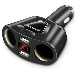 cargador de coche más ligero portátil Rebajas Cargador portátil USB cargador 5V 3.1A del coche dual con 2 encendedor del coche espacio de la pantalla de carga de tensión para la corriente iPhone 8 7 6 Samsung S7 S8 S6