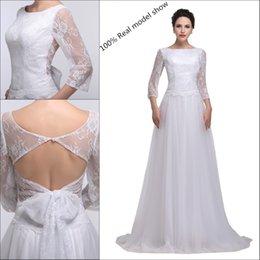 Uzun Kollu Düğün Dantel Elbiseler Gelinlik Beyaz Gelin Törenlerinde A-Line Okumak resimleri tull Plaj Artı Boyutu Yay Ile Gelinlik ... nereden
