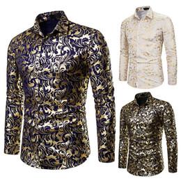 Novas camisas da flor mens on-line-Floral Impressão shirt Homens 2019 Marca New Gold Bronzing Long Sleeve Flower Chemise Homme vestido extravagante Mens Shirts Camisa Masculina J190788