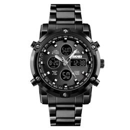 цифровой ремень Скидка SKMEI Digital Quartz Watch Men Outdoor Sports Digital Watch Countdown Full Steel Strap Wristwatch Clock Relogio Masculino 1389