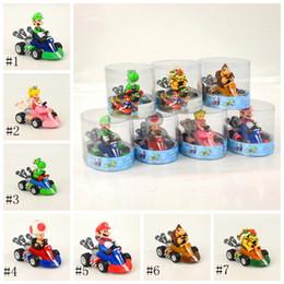 Juguetes de coches azules online-Super Mario tira del coche 7 Yoshi West Louis Blue Dragon orangután del dragón del fuego decoración hecha a mano del juguete EEA984