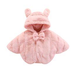 Bambini poncho rosa online-Il bambino all'ingrosso capretti dei vestiti del progettista delle ragazze vestiti delle ragazze rosa simpatico poncho giacche cappotti invernali con cappuccio ragazze di design antivento caldi 110201