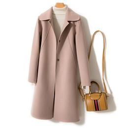 Canada KMETRAM 100% laine manteau femme veste femme printemps 2019 double face manteau en laine femmes coréenne rose vestes Chaqueta Mujer MY2560 supplier korean jacket for women pink Offre