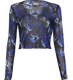 2020 puro camicia da stampa floreale Sheer Mesh donne sexy di modo Top manica lunga stampata floreale trasparente T-shirt Crop Tops Abbigliamento sconti puro camicia da stampa floreale