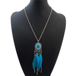 Indische ethnische halskette online-Bohemian Ethnic Indian Style Feder Halskette Vintage Retro lange Strickjacke-Kette Mode Frauen Schmuck 123124