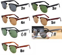 bdf38ec3e2 summer men metal Sunglasses GLASS LENSES Driving glass cycling glasses  women Bicycle Glass driving Sun glasses FASHION 7COLORS free ship