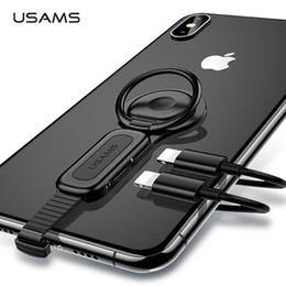 Usams cargadores online-Dual Lightning Ring Holder Adapter USAMS 3.5mm Audiocharger Soporte para teléfono ajustable 2A Adaptador de carga rápida OTG para iPhone iOS