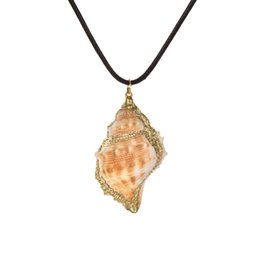 natural sea shell pendant Promo Codes - Fashion Beach Sea Ocean PU Conch Pendant Necklace For Women Natural Shell Collar Necklace&Pendant Female Sweater Chain Jewelry