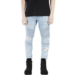 2019 ropa de diseñador swag Pantalones de diseñador de ropa de calle de 2019 azul / negro destruido para hombre delgado denim jeans rectos de motorista flaco swag masculino rasgado rebajas ropa de diseñador swag