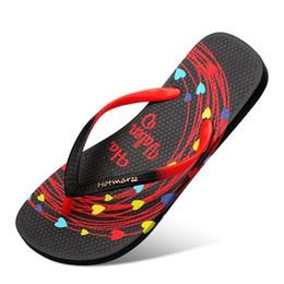 Zapatillas de corazon online-Nuevas chanclas para mujer Zapatillas de verano Sandalias negras para mujer Zapatos de playa Corazón San Valentín Mujer Zapatillas de casa Zapatillas de piscina