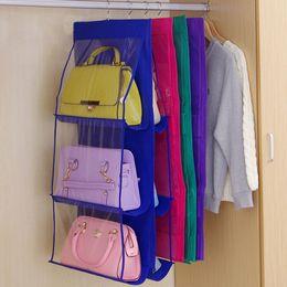 enforcamento roupeiro armazenamento sacos Desconto Dobrável Saco De Armazenamento De Bolsa De Suspensão Dupla Face Transparente 6 Bolso Sundries Arrumado Organizador Saco Roupeiro Armário Rack Cabide DBC VT0360