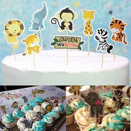 topper picks for cupcakes Coupons - 24Pcs Jungle Safari Cupcake Picks Animal Cake Toppers Cartoon Cupcake Inserts Card Party Gifts for Kids Birthday Wedding Decor