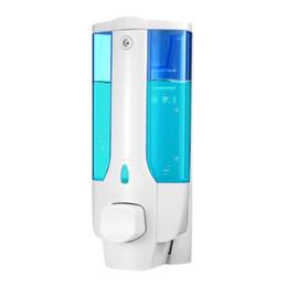 Fechaduras de banheiro on-line-Recipientes líquidos dos distribuidores do líquido do chuveiro da montagem da parede do distribuidor do champô da mão 350ml com o fechamento para o banheiro do banheiro