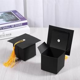 documenti di supporto natale Sconti 24Pcs Graduation Cap Shaped Gift Box Candy Sugar Chocolate Box Favore di partito Decorazioni per il bambino Regalo