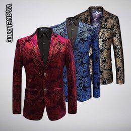 Patrón de terciopelo de lujo Blazer Hombres Paisley Chaquetas florales Rojo vino / oro / azul Chaqueta de escenario de los hombres Boda elegante de los hombres Blazer M-6XL desde fabricantes