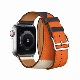 Высокое качество роскошные смарт-ремешки для iwatch band Apple Watch Bands кожаная петля 40 мм 44 мм 42 мм 38 мм серия 4 3 2 1 сменный ремешок от