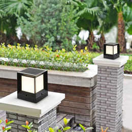 Poste de luz solar blanca online-BRELON Solar LED Column Light White Warm Color Dimmable Safety Light Outdoor Garden Lane Light Post Lamp