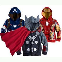 2019 costumes de héros Prêt Stock Stock Garçons Vêtements À Capuche Super Hero Sports Suit Sweatshirts Printemps Automne Hiver Tenue Enfants Designer Vêtements costumes de héros pas cher