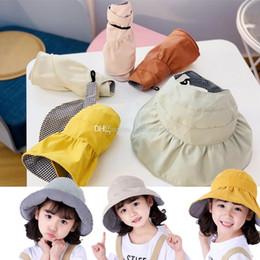 Sombrero de niña estilo coreano online-Estilo coreano japonés Color sólido Niños Denim Pescador Sombrero Niños Bebés Niños Chicas Moda Linda Caps para el sol