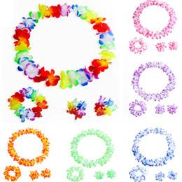 hawaiian kranz blumen Rabatt Hawaiian Flowers Kranz Tropical Flower Garland Halskette Armbänder Stirnband Set Erwachsene Kinder Strand Kostüm Party Dekorationen 4 teile / satz WX9-1342