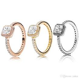 925 побитых камнями колец онлайн-3 цвета квадратный CZ алмазный камень обручальное кольцо оригинал для пандоры серебро 925 розовое золото желтое золото кольца для женщин