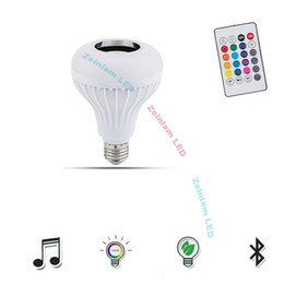 Base bluetooth online-LED smart Bluetooth Light Bulbs Speaker RGB Changing Lamp Dimmable LED Music Light Bulb E27 Base