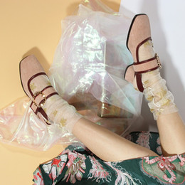 2019 квадратные носки Lolita Girl's Vintage Square Toe Corduroy Mary Janes Bordered Bicolor Flat Casual Shoes Sweet Shoes Women Pink Pumps скидка квадратные носки