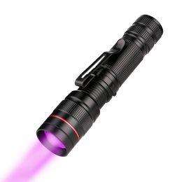 Zoomfokus taschenlampe online-Zoomable led uv taschenlampe lila violett licht fokus uv 395nm taschenlampe lanterna für marker checker bargeld erkennung