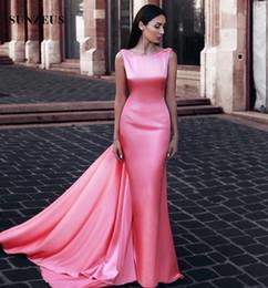 Canada Gaine rose longue robe formelle réservoir sans manches élastiques robes de soirée en satin femmes arabes robe de soirée sexy dos ouvert Offre
