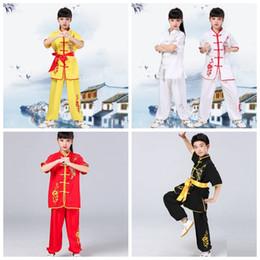 artes marciais chinesas Desconto 18 Curto-sleeved dragão bordado salão de artes marciais treinamento trajes de competição de estilo chinês homens e mulheres bem-vindos atacadistas para pu