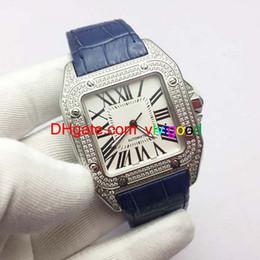 Argentina Lujo Top Brand 100XLMen Relojes Cuadrados Ginebra Genuino Diamante Relojes automáticos Moda de alta calidad Mens Santo Relojes Suministro