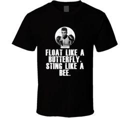 Abanico mariposa online-Las cotizaciones de Muhammad Ali flotan como una mariposa, pican como una abeja Boxing Fan T ShirtFunny envío gratis Unisex Casual camiseta