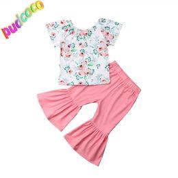 57fe21b9db44 2019 Toddler Kids Baby Girls Ruffle T-Shirt Tops Pants Leggings 2Pcs Outfits  Clothes Hot